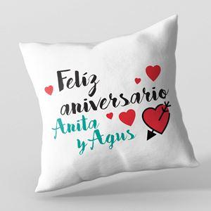 Almohadón personalizado 40x40 Feliz aniversario