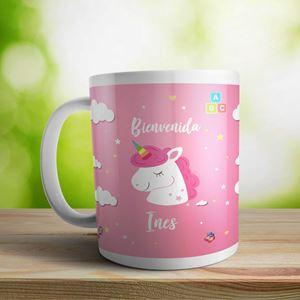 Taza cerámica personalizada Bienvenida nena