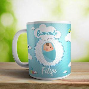 Taza cerámica personalizada Bienvenido nene