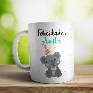 Taza cerámica personalizada Felicidades osito