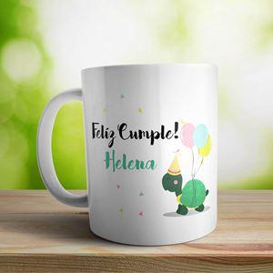Taza cerámica personalizada Cumple tortuga