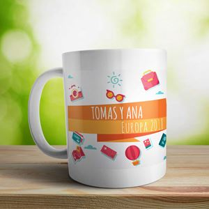 Taza cerámica personalizada Viajeros