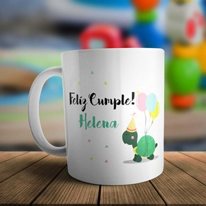 Taza plástico personalizada Cumple tortuga