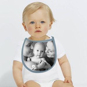 Babero azul personalizado con foto