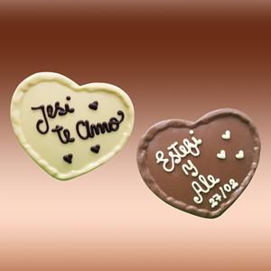 Corazón chocolate personalizado con frase