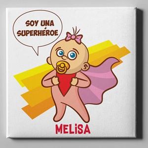 Lienzo personalizado 50x50 Niña Super Heroe
