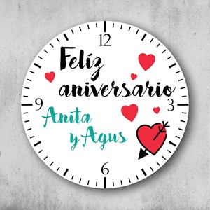 Reloj circular personalizado Feliz aniversario