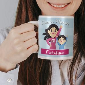 Taza cerámica personalizada Super Mamá