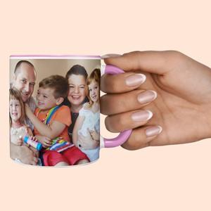 Taza rosa personalizada con foto
