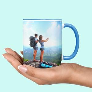 Taza azul personalizada con foto